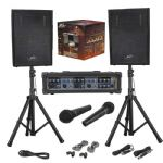 Peavey Audio Performer Pack + Mixer Amp + PA Speakers +Stands +Mics 2yr Warranty